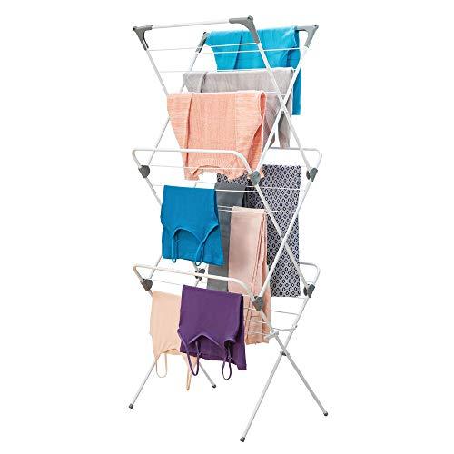 mDesign séchoir à linge repliable – étendoir avec grandes capacités sur 3 niveaux – étendage transportable et compact en métal et plastique avec 27 crochets – blanc/gris
