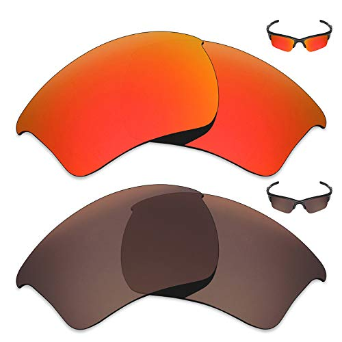 MRY 2Paar Polarisierte Ersatz Gläser für Oakley Half Jacket 2.0XL Sonnenbrille-Reiche Option Farben, Fire Red & Bronze Brown