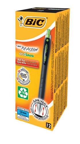 BIC Druckkugelschreiber Ecolutions ReAction (0.32 mm, mit gefederter Spitze, Schachtel à 12 Stück) schwarz