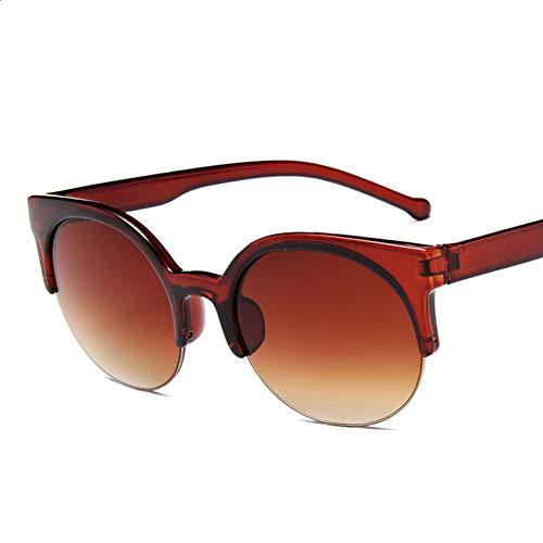 TDPYT Cat Eye Sonnenbrille Frauen Retro VintageHalbbildBrillenRunde Kreis Halbrandlose Brille Uv400