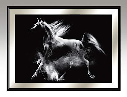Galerie in den Wolken Pferd, Serie Wien - Gemälde fürs Wohnzimmer, modernes handgemachtes Bild für Haus, handgefertigter Wandschmuck, Wandbild mit Holzrahmen, skandinavischer, modernischer Stil