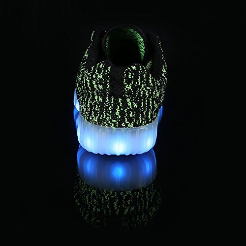 FLARUT LED Chaussures Unisexe Homme Femme Chaussure LED Sports Basket Lumineuse 7 Couleur USB Charge Chaussure Lumineuse Clignotants Vert