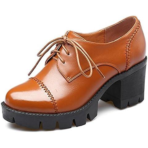 LYF KIU Pelle grossa rotonda con profonde sceglie i pattini della bocca impermeabile/ tacchi color cuoio caviglia Lace-up