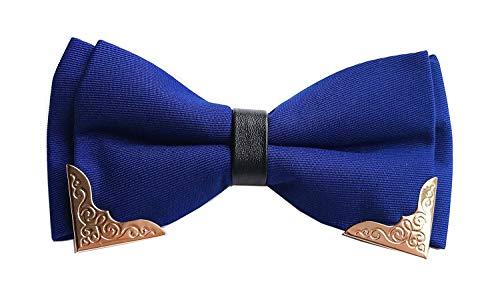 HAIYUGUAGAO Fliegen für Männer Das goldene umrandete Metall der Fliege der Männer pre-tie doppelte Schichten Partei Bowties (Color : Royal Blue, Größe : One Size) - Royal Blue Bowties
