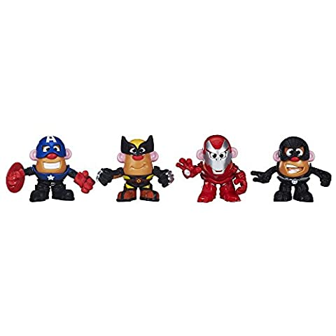 Playskool - B0205 - M. Patate - Super-héros Marvel Pack Collector - m. patate comme Iron-man, comme Spider-Man, comme Carcajou & comme Captain America - Miscibles, Mashable Heroes - 16 Pièces