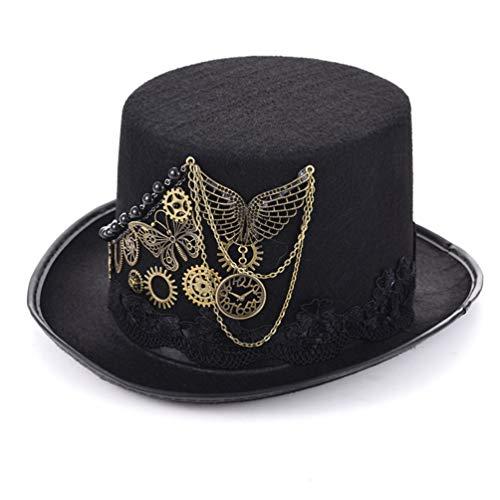 DETZFSWBG Retro Steampunk Zylinder Gothic Hats Zubehör Mexican Hat Handmade Cosplay Zubehör