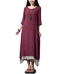 Romacci Donna Vestito Lungo Maxi Scollo lunghe vestito O-collo e Maniche  Mezzo Asimmetrico Cotone fea685d72b1