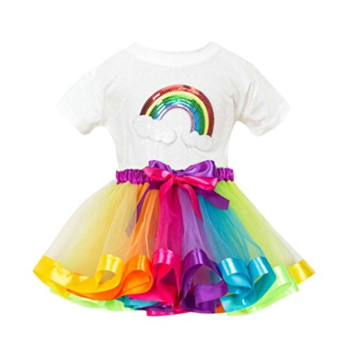 Baby Bekleidung Jungen Mädchen Regenbogen Druck T Shirt + Mädchen Rock Tutu Party Rock Outfits...