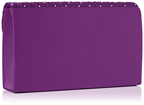 SwankySwansAbby Diamante Envelope Style Bag - Sacchetto donna Viola (Purple)