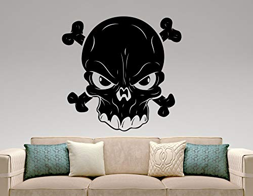 jiushizq Kunst Entworfen Schädel Silhouette Coole Wandbilder Home Wohnzimmer Mode Moderne Dekorative Vinyl Wandaufkleber Sull Kopf Wm 60x60 cm (Für Coole Nagel-kunst Halloween)