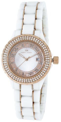 Carlo Monti Ladies Quartz Watch with Mother Of Pearl Dial Analogue Display and White Ceramic Bracelet CM201-386B