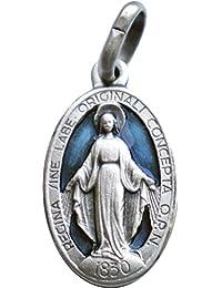 Medalla de la Virgen Milagrosa, plata de ley 925, 18x 10mm