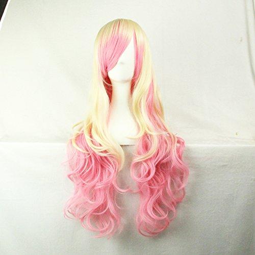 Femmes / Ladies 70cm Cheveux frisés Beige dégradé de couleur rose longue perruque cosplay / Costume / Anime / Parti / Bangs Sexy pleine perruque