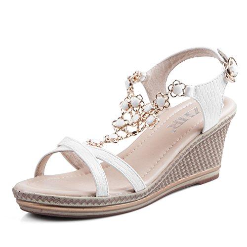 Estate zeppe sandali platform/Muffin Pan casual scarpe da donna/Donne sandali tacco boximiyagao-B Lunghezza piede=22.8CM(9Inch)