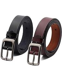 Set de 2 Mujer Cinturón Piel de vacuno Moda Cinturones Ajustable Cintura Retro Ropa Para Jeans Pantalones Cortos Vestidos Para Mujeres Con la hebilla del Pin de la aleación BY ANDY GRADE