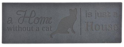 Esschert Design Stufenmatte Relief Home Without Cat Türmatte, PET, Recyceltes PVC, schwarz, 74.5 x 25.8 x 0.8 cm