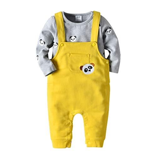 Cooljun Baby Kleinkind Mädchen Jungen Herbst Winter Romper Dreieckige Strampler Lätzchen 2 STÜCKE Insgesamt Hosen Kleidung Sets (12-18Monat, ()