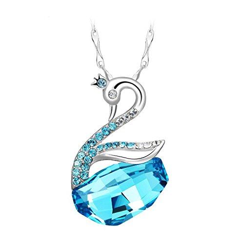 JJPUNK Kristall Schwan Anhänger Halskette mit Swarovski Elements + Silber Kette Geschenk gemacht