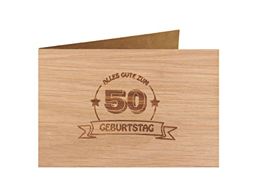 Holzgrußkarte - Geburtstagskarte - 100{e85cd182f66bd64c64c268768cbb1bcc155360a58843c1e2ce94ad6f4387c5f3} handmade in Österreich - Postkarte Glückwunschkarte Geschenkkarte Grußkarte Klappkarte Karte Einladung, Motiv:ALLES GUTE 50 GEBURTSTAG