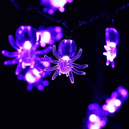 tten 10 LED 5.4ft Batteriebetriebene Baby Nachtlichter Halloween Lichterketten für Dekoration, Halloween Beleuchtung, Innen, Urlaub, Zuhause (Lila Spinne) ()