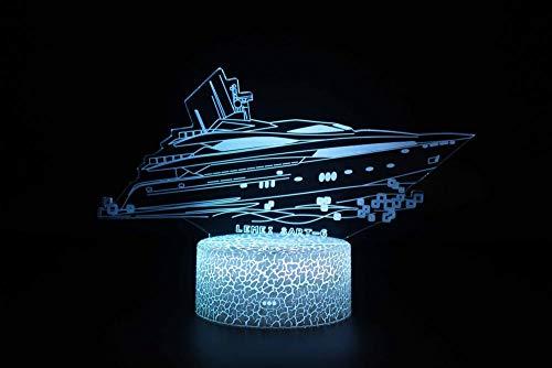 3D Lampe LED Licht 3D Illusion Lampe Nachtlicht Dekoratives 7 Farben Schalter von Smart Touch Button&Remote&USB Kreative Dekorationen Kreuzfahrtschiff für Kinder Baby Boy Geburtstag
