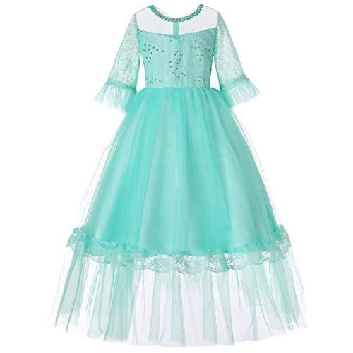 Toamen abbigliamento da ragazze nozze abiti da cerimonia,abito in pizzo a mezza manica estate di tulle festa tutu da sera regalo di compleanno (verde,160)