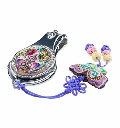 Schönen Nagelknipser, Schmetterling Design, natürlichem Perlmutt Maniküre Accessoire für Hände und Fuße. Koreanische traditionelle Handwerk
