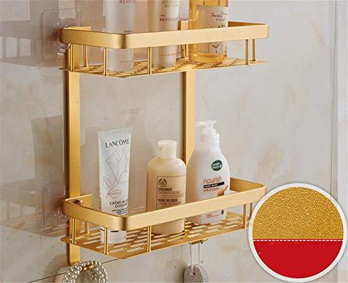 Badregal frei lochend Doppel Duschstange Küchenwand hängend Ablage mit Haken@Gold_Platz