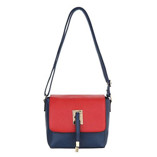 Ital-design Borsa Da Donna Piccola Borsa A Tracolla Tote Bag In Similpelle Ta-d207 Blu Rosso