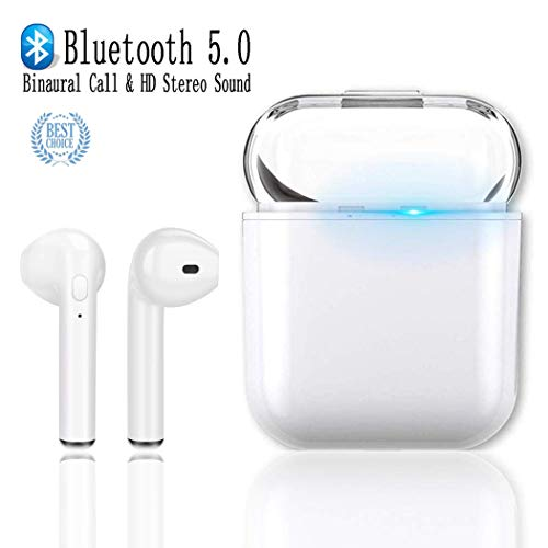 i8X TWS Auriculares Bluetooth Inalambricos, DUOKER True Wireless áuriculares Bluetooth 5.0 TWS Cascos Mini Twins Estéreo In-Ear Manos Libres con Microfono/Caja de Carga - Blanco