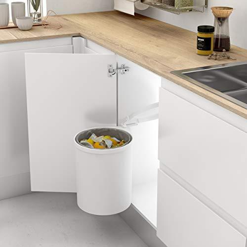 - Cubo de basura redondo y giratorio para armario de cocina - Capacidad 13L