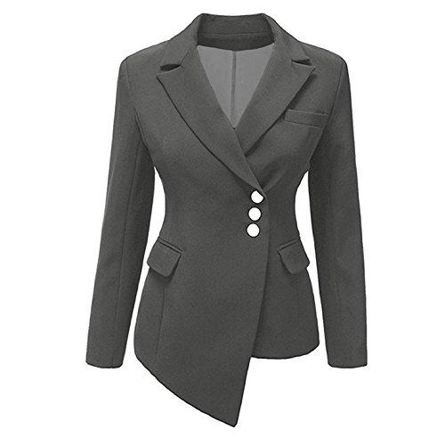 Damen Langarm Blazer - Mode Einfarbig Slim Fit Umlegekragen Kurzjacke mit Knöpfen Lässig Büro Geschäft Arbeit Formeller Abend Anzug Mantel Oberbekleidung Top