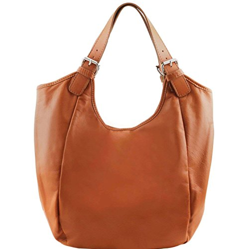 Tuscany Leather - Gina - Sac hobo en cuir - Cognac
