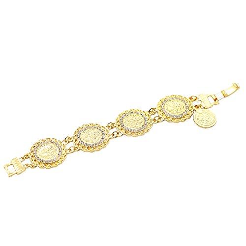 Fengteng Elegant Gold Farbe Rundform Blume Gott Allah Armband, Muslimische Islam Rund Islamischen Strass Münze Armreif, Muslim Damen Armkette Religiöse Schmuck Hip Hop Sti