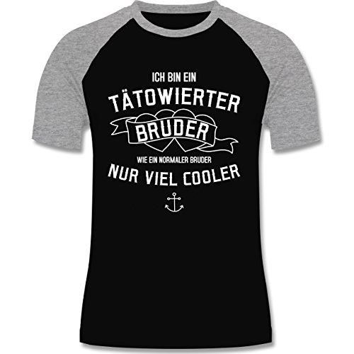 Bruder & Onkel - Ich bin ein tätowierter Bruder - zweifarbiges Baseballshirt für Männer Schwarz/Grau Meliert