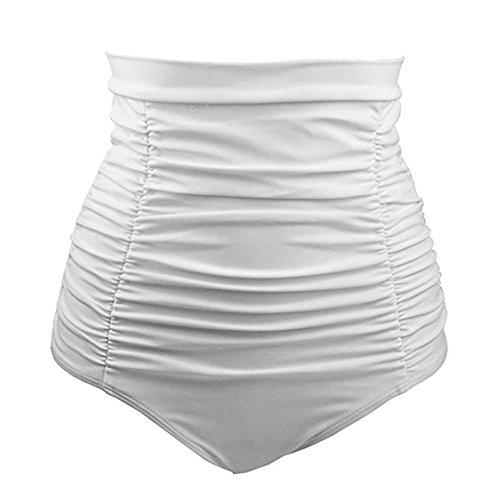 Feytuo Short de Bain Femme Taille Haute Femme Bas de Maillot de Bain Jupe de Sport avec Short de Bain Clouleur Unie Maillots de Bain pour Femme Vintage Bikini Shorts de Bain Taille Haute C