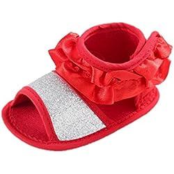 Tefamore Zapatos Sandalias Bebe De Cuna Sola Suave Anti-deslizante Floral Princesa Niña Nuevo Verano (13, Rojo)
