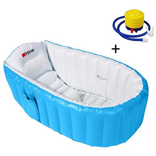 zezego Vasca da bagno gonfiabile, Mini bacino doccia portatile con cuscino morbido Sedile centrale e pompa gonfiabile per neonati Bambini Bambini neonati Toddlers