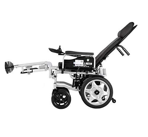 BYCDD Elektrische Rollstühle, Heavy Duty Faltbare Tragbarer Safety Power für Ältere Menschen zum Transportieren Einstellbar Rücken,Black -