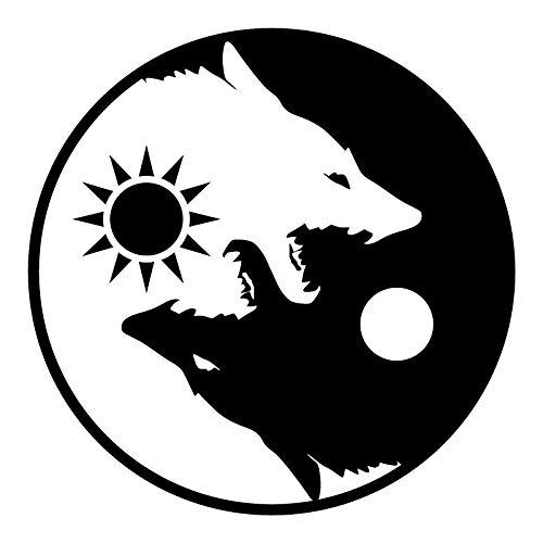 OTA Aufkleber Yin Yang Wolf schwarz weiß (2 Stück) Aufkleber Symbol für Auto, Fenster, LKW, Motorrad, Chopper, Van, SUV, PPV, Scrapbook, Telefon, Gehäuse, Laptop, Tür, Helm, Gepäck