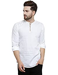 Pacman White Kurta Styled Slim Fit Smart Mens Casual Shirt SHFS0047