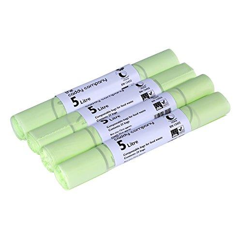 The Caddy Company - Bolsas de basura biodegradables y compostables (5 L, 100 unidades), color verde