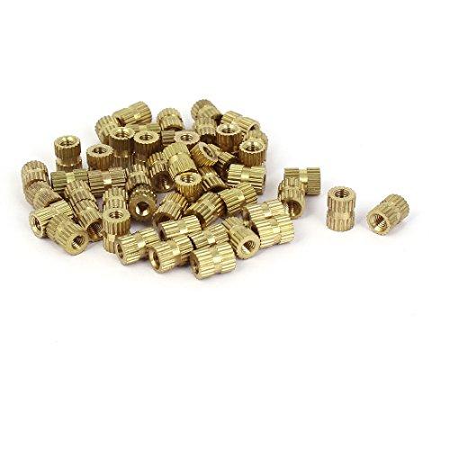 sourcingmap® 50 Stück Solid Knurl Thread Insert Eingebettete Nut Fittings Messing M3x7mmx5mm DE de