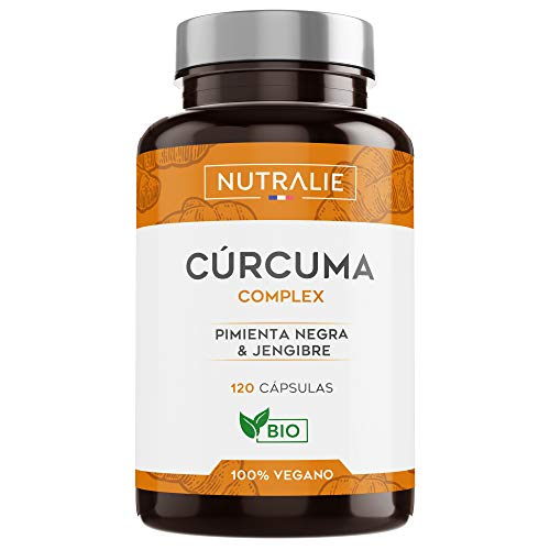 Organic turmeric (650mg) with Ginger (50mg) and Black Pepper (10mg) | 120 vegetable capsules | Top quality | Powerful anti-inflammatory and natural antioxidant | Turmeric complex | Nutralie