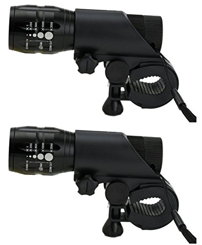 Lifestyle-You 2 Pcs Zoomable 3 Mode BICYCLE HEADLIGHT HEAD LIGHT LED Flashlight Front Bicycle Bike Light lamp Mount Torch + Holder Clip Mount (Set of 2)