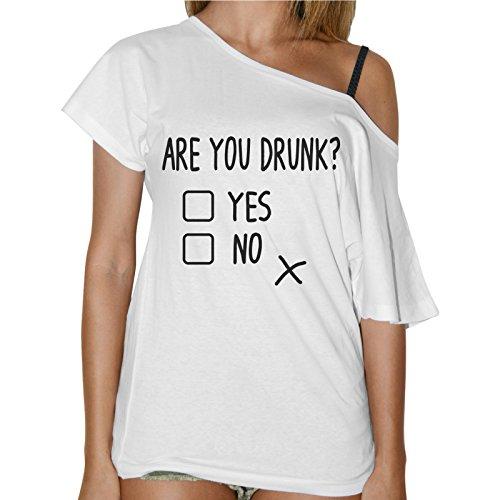 T-Shirt Donna Collo A Barca Simpatica Are You Drunk? Bianco