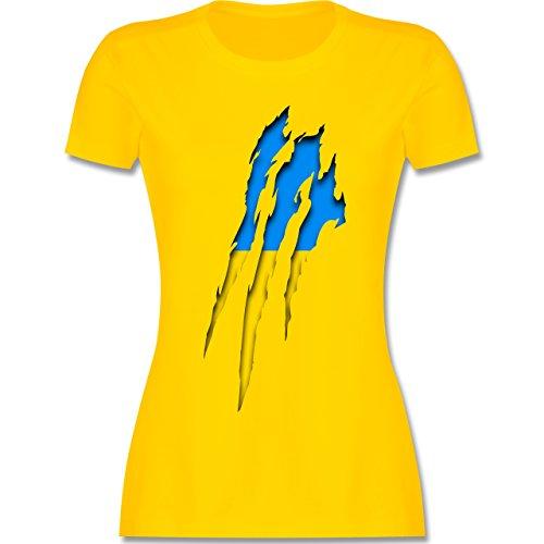 Shirtracer Länder - Ukraine Krallenspuren - Damen T-Shirt Rundhals Gelb