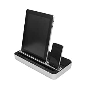 iPega Silver DOCKING STATION Charger, Speaker & Stand With Dual Charger Adapter for iPad 2 3 New 4 mini and iPhone 4G 4S 5 Galaxy S3 Note2 i9300 N7100 - NIKINGSTORE