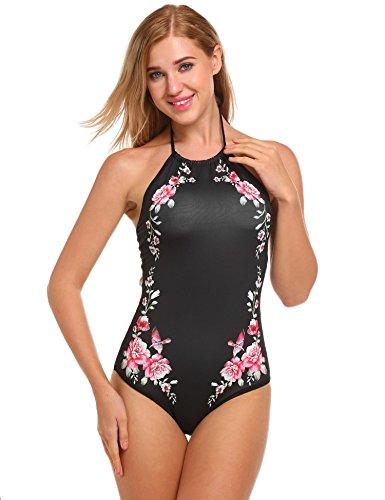 Ekouaer Damen Badeanzug Bikini Einteiler Sexy Halter Bademode Blumendruck Padded Rückenfrei Monokini Schwarz/Blau/Weiß((S-XL) Schwarz-Rot472