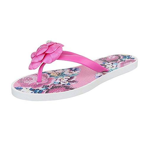 Zehentrenner Gummi Damenschuhe Peep-Toe Zehentrenner Ital-Design Sandalen / Sandaletten Pink